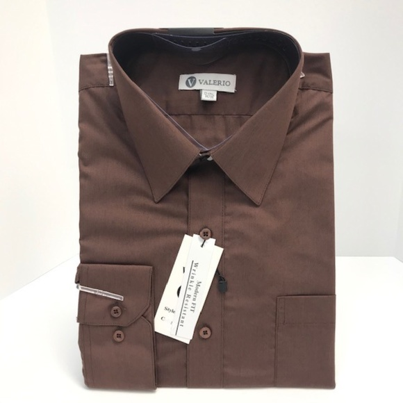Sleeve Length MENS Brown Long Sleeve Dress Shirt All Sizes